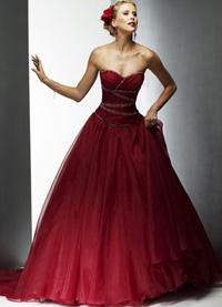 Красное свадебное платье из двух частей фото