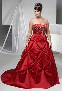 Красное свадебное платье на полной фото