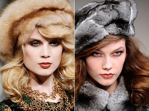Женские головные уборы 2010–2011 Меховые шапки фото