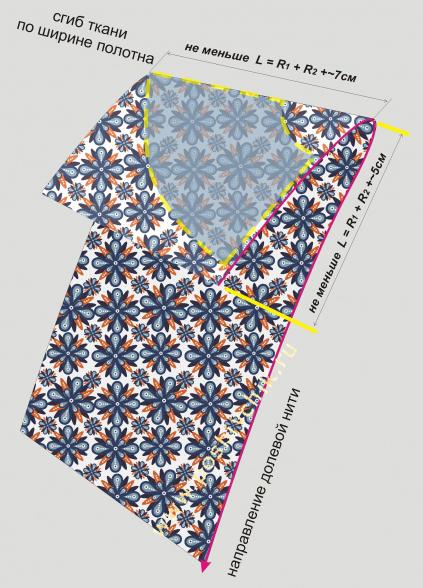 Выкройка юбки полусолнце на ткани