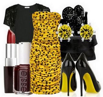 Комбинирование одежды желтого цвета с черным фото