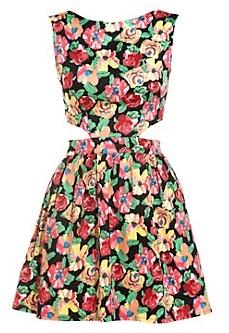 Платье с цветочным принтом с необычным вырезом фото
