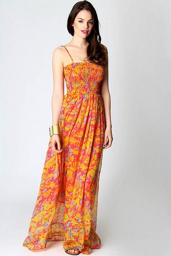 Длинное платье с цветочным принтом фото