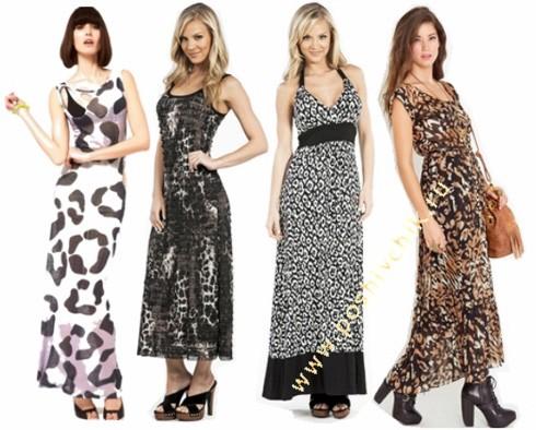 Длинное леопардовое вечернее платье 2015 - 2016 фото новинки