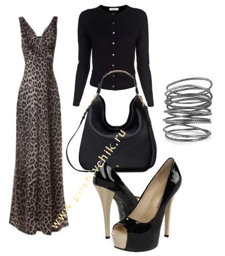 С чем носить длинное леопардовое платье в пол изысканный стиль фото