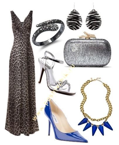 С чем носить длинное леопардовое платье в пол гламурный стиль фото