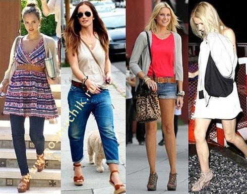 С чем носить женские летние босоножки на танкетке с фото-сетами