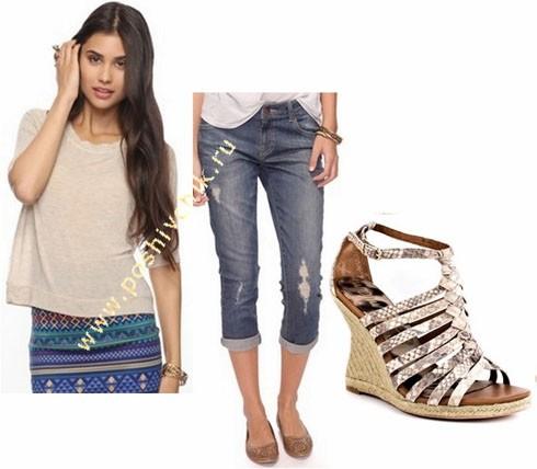 С чем носить женские летние босоножки на танкетке с джинсами фото