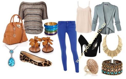 С чем носить женские синие джинсы цвета кобальт с фото