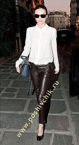 С чем носить женские кожаные брюки мощный и деловой стиль фото