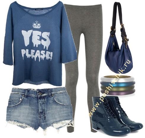 С чем носить модные красивые леггинсы с футболкой фото