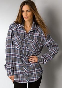 Мешковатая рубашка в клетку для стройных фото