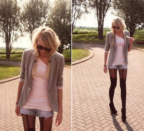 Как правильно носить чулки с поясом с шортами фото