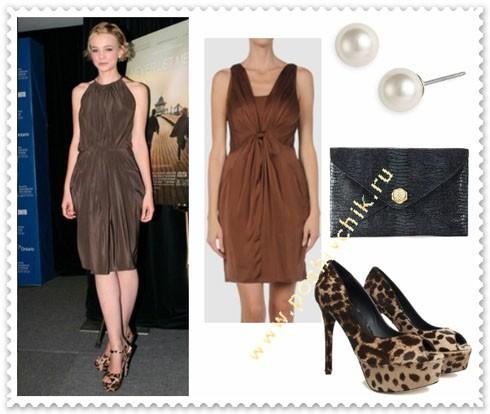 С чем носить леопардовые туфли на высоком каблуке с черным платьем фото