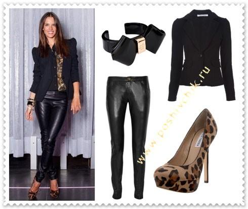 С чем носить леопардовые туфли с кожаной одеждой фото