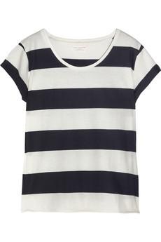 Удобные и яркие горизонтальные полоски на футболке фото