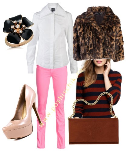 С чем носить женские цветные джинсы светло-розовые фото