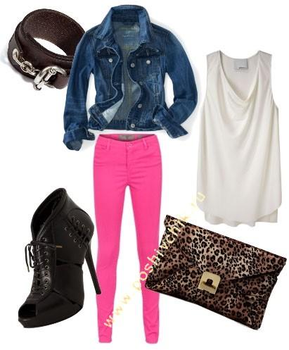 С чем носить женские цветные джинсы ярко-розовые фото