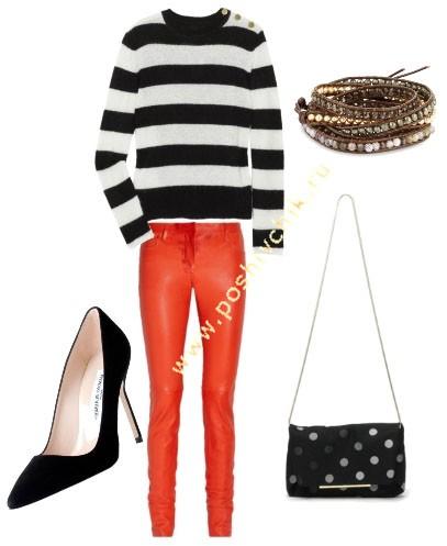 С чем носить женские цветные джинсы ярко-оранжевые фото