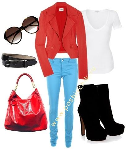 С чем носить женские цветные джинсы голубые фото
