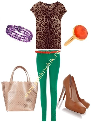 С чем носить женские цветные джинсы зеленые фото