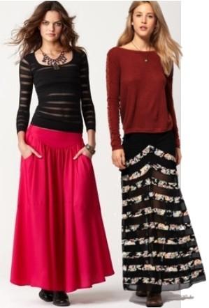 С чем носить длинную юбку комбинируя цвета и полосы фото