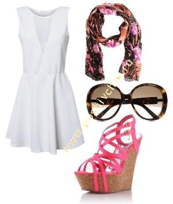 Сочетание белого цвета в одежде с босоножками на танкетке фото