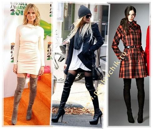 С чем носить женские высокие сапоги-чулки на шпильке с фото