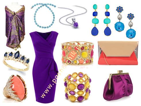 С чем носить вечернее фиолетовое платье акцентирование цветом