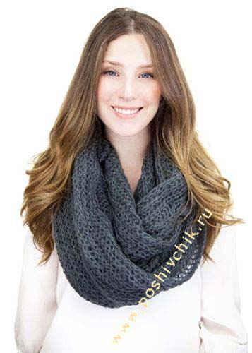 Модный однотонный шарф-труба