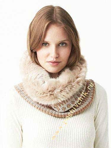 Сочетание шарфов-трансформеров из меха и вязки