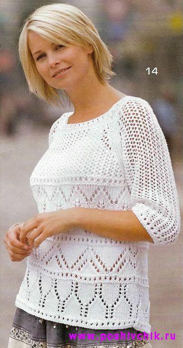 Белая ажурная кофта для женщин вязаная спицами фото модели