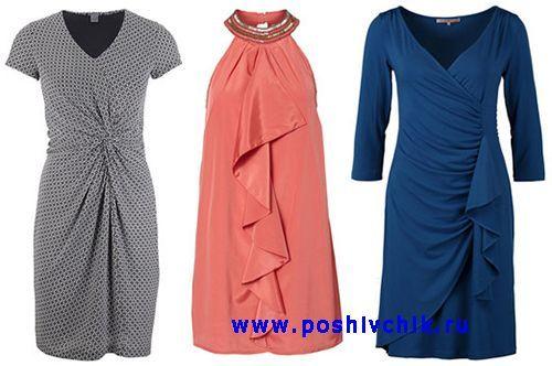 Платья с драпирующими эффектами, оборками и воланами фото