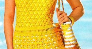 Желтое платье-туника на лето фото