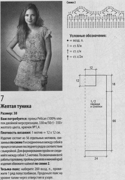 Схема и описание вязания туники с поясом