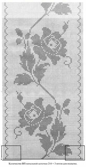 Схема розы с тремя листиками