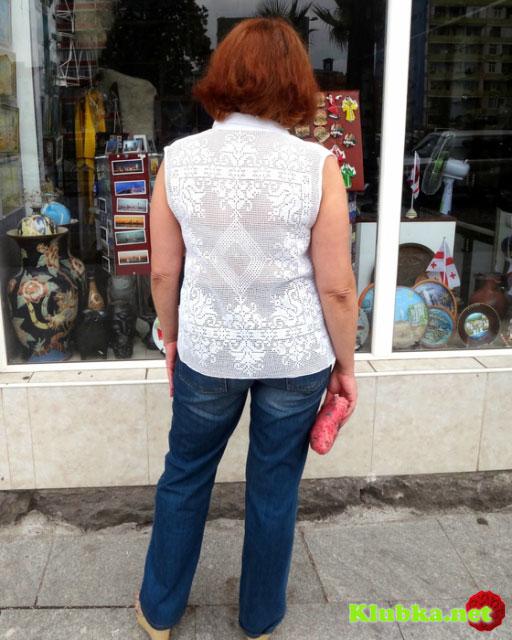 Летняя рубашка без рукавов вид сзади