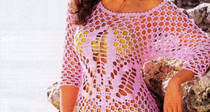 Розовая пляжная туника крючком «Клевер»