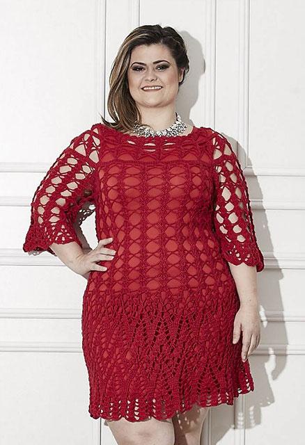 Красное платье для пышных и стильных дам