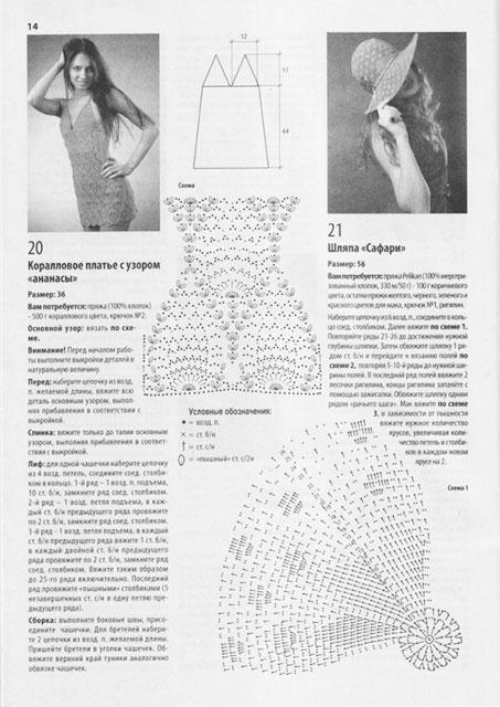 Схема и описание для платья кораллового цвета