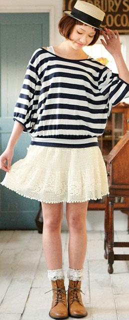 Трехъярусная белая юбка
