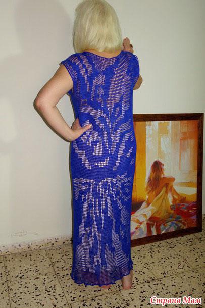 Платье в пол синего цвета вид сзади
