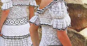 Платье в деревенском стиле крючком с элементом филейной техники