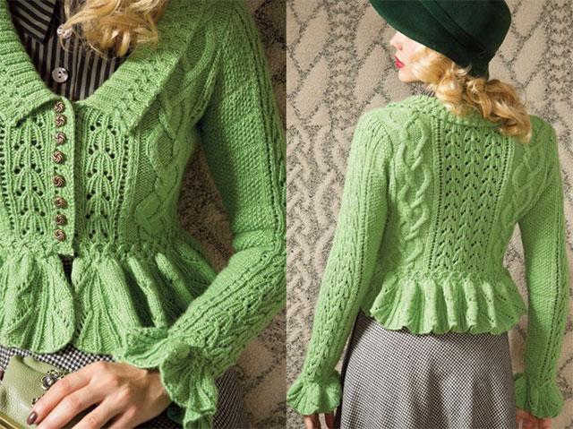 Зеленый жакет с баской из Vogue Knitting