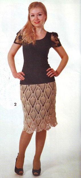 Бежевая прямая юбка узором «ананас»