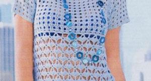 Голубая туника комбинированная клетками и веерами