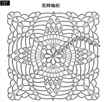 Схема квадрата с узором Ананас