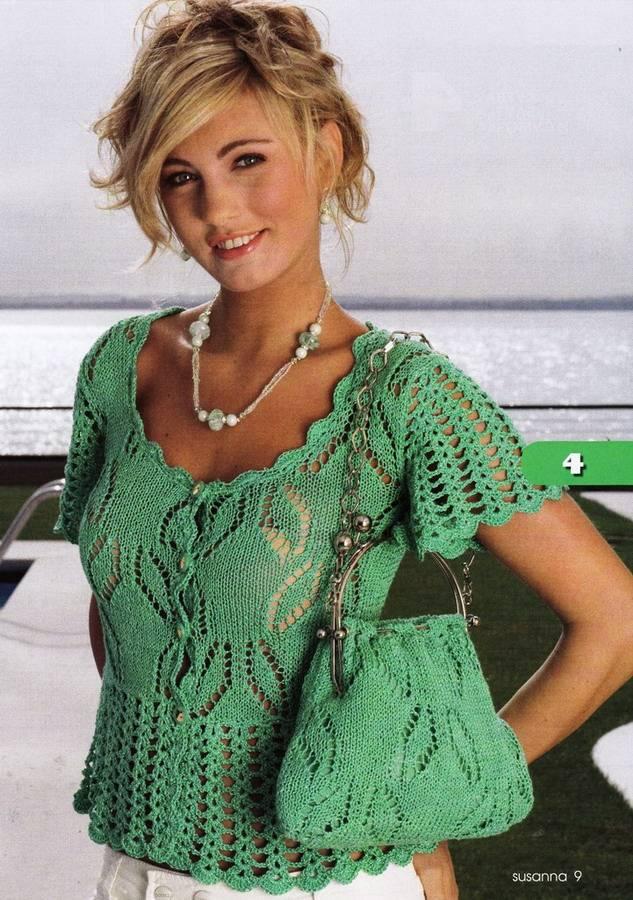 Ажурная блузка с сумкой Зеленый рай
