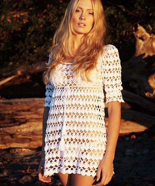 Белоснежная туника-платье для пляжа «ANNI»