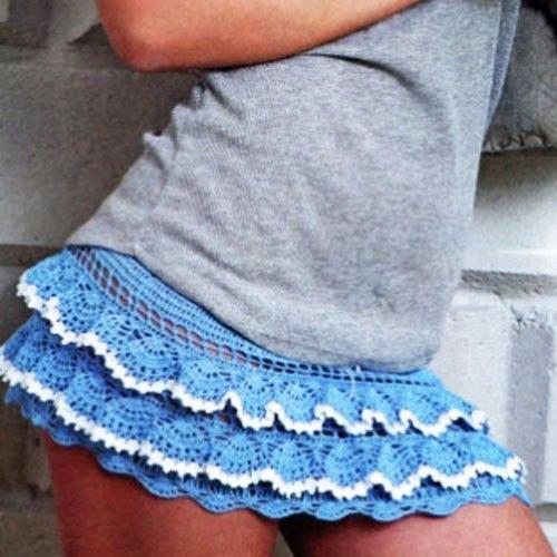 Синяя юбочка с контрастной обвязкой